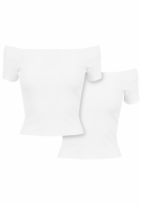 Tricou Off Shoulder Rib 2-Pack dama Urban Classics