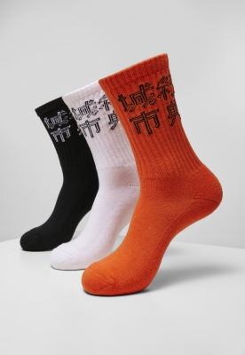 Set de 3 Sosete Chinese Logo black+white+orange Urban Classics negru alb portocaliu