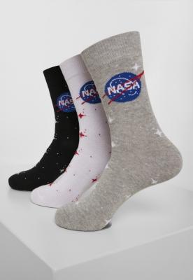 Set de 3 Sosete NASA Insignia negru-gri Mister Tee