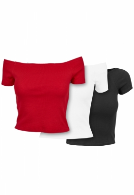 Tricou Off Shoulder Rib 3-Pack dama Urban Classics