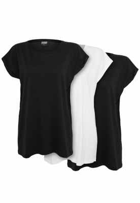 Tricou Extended Shoulder 3-Pack dama Urban Classics