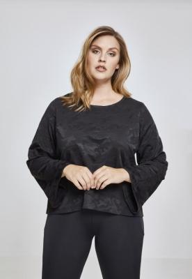 Short Jacquard Camo LS pentru Femei negru-camuflaj