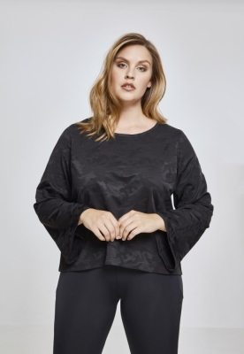 Short Jacquard Camo LS pentru Femei negru-camuflaj Urban Classics