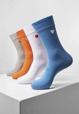 Sosete Heart 4-. wht+lightblue+orange+h.grey Urban Classics alb bleu portocaliu gri deschis