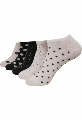 Sosete No Show Dots 5-. alb-negru Urban Classics