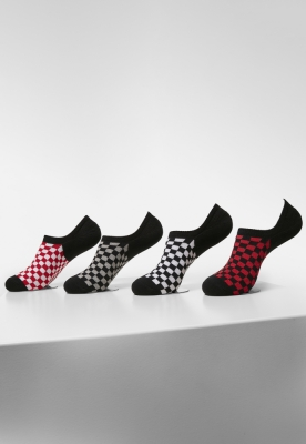 Sosete Recycled Yarn Check Invisible 4-. black+white+red+grey Urban Classics negru alb rosu gri