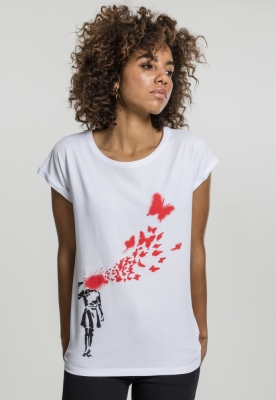 Tricou Banksy Butterfly pentru Femei alb