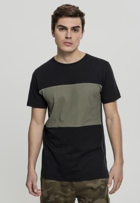 Tricou bumbac contrast negru-oliv
