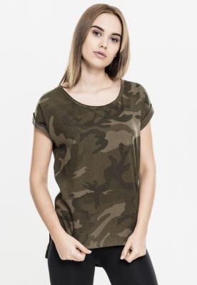 Tricou camuflaj mai lung in spate pentru Femei oliv-camuflaj Urban Classics