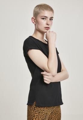 Tricou casual aspect prespalat decolteu barcuta pentru Femei negru Urban Classics