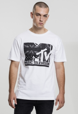 Tricou casual cu imprimeu MTV I am Music alb Merchcode