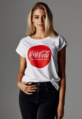 Tricou Coca Cola Round Logo pentru Femei alb
