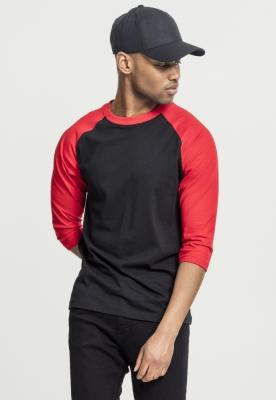 Tricou contrast cu maneci trei sferturi negru-rosu