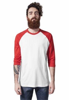 Tricou contrast cu maneci trei sferturi alb-rosu