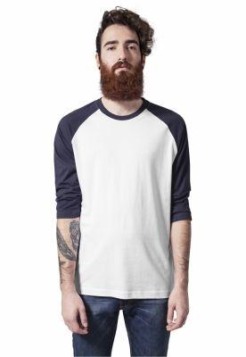 Tricou contrast cu maneci trei sferturi alb-bleumarin