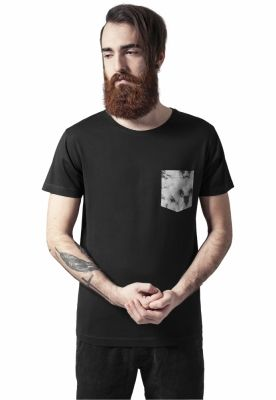 Tricou cu buzunar contrast negru-darkmarble Urban Classics