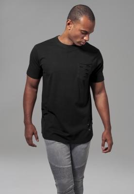Tricou cu buzunar cu taieturi negru Urban Classics