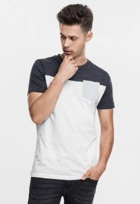 Tricou cu buzunar trei culori alb-gri carbune