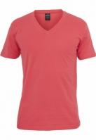Tricou cu decolteu in V Basic rosu deschis Urban Classics