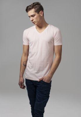 Tricou cu decolteu in V Basic roz Urban Classics