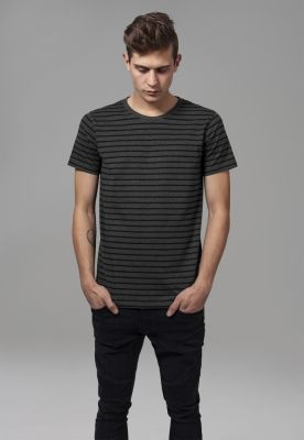 Tricou cu dungi gri carbune-negru Urban Classics