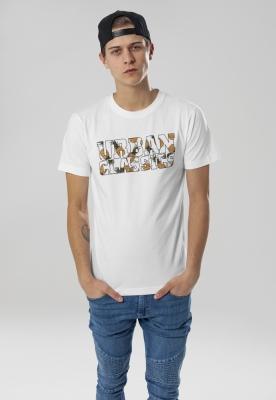 Tricou cu logo Urban Classics alb-ananas