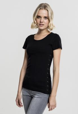 Tricou cu siret Washed pentru Femei negru Urban Classics