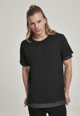 Tricou cu strat dublu Full negru-gri carbune Urban Classics