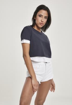 Tricou cu strat dublu Full pentru Femei bleumarin-alb Urban Classics
