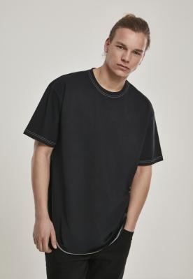 Tricou cusaturi culoare contrast Heavy supradimensionat negru Urban Classics