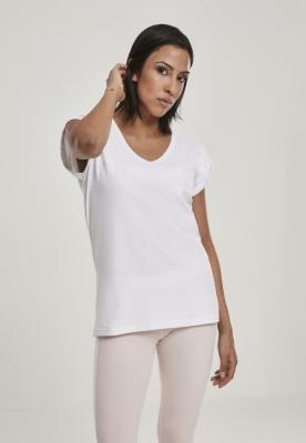 Tricou decolteu rotund in V cu maneci cazute pentru Femei alb Urban Classics