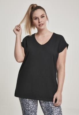 Tricou decolteu rotund in V cu maneci cazute pentru Femei negru Urban Classics
