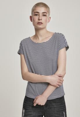 Tricou dungi subtiri fire colorate pentru Femei bleumarin-alb Urban Classics