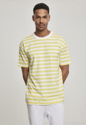 Tricou dungi supradimensionat fire colorate Bold galben-alb Urban Classics