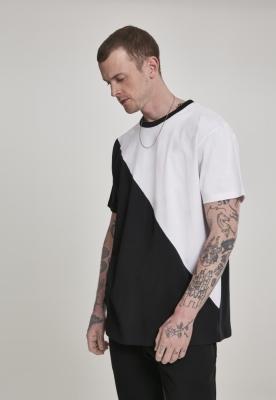 Tricou Harlequin lejer asimetric alb-negru Urban Classics