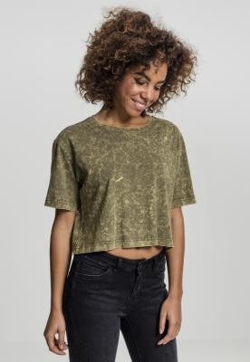 Tricou larg si scurt cu aspect prespalat pentru Femei oliv Urban Classics
