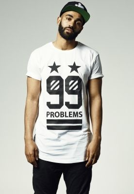 Tricou hip hop lung 99 Stars alb Mister Tee