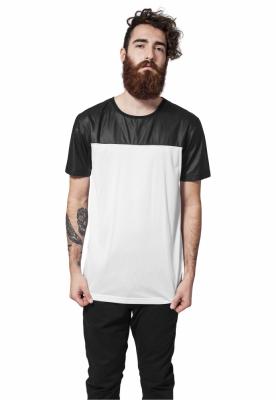 Tricou lung alb-negru Urban Classics