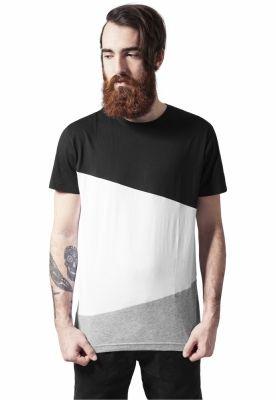 Tricou lung zig zag barbati negru-alb Urban Classics