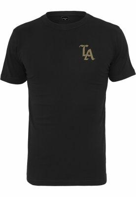 Tricou negru simplu LA negru-auriu Mister Tee