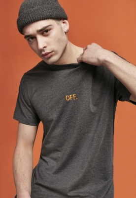 Tricou OFF EMB gri carbune- Mister Tee