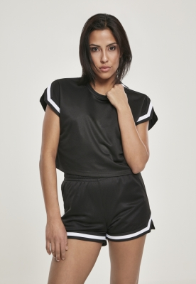 Tricou plasa cu maneci largi cu dungi Short pentru Femei negru Urban Classics