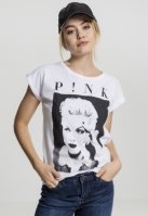 Tricou roz Portrait pentru Femei alb