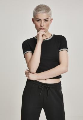 Tricou scurt cu tiv multicolor pentru Femei negru Urban Classics