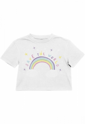 Tricou scurt Save The World pentru Copii alb Mister Tee