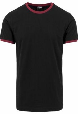 Tricou urban Ringer negru-rosu burgundy Urban Classics