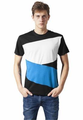 Tricou Zig Zag negru-turcoaz Urban Classics