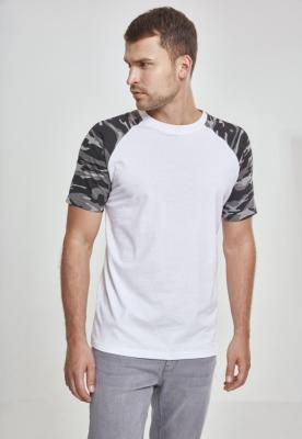 Tricouri casual in doua culori pentru barbati alb-camuflaj Urban Classics