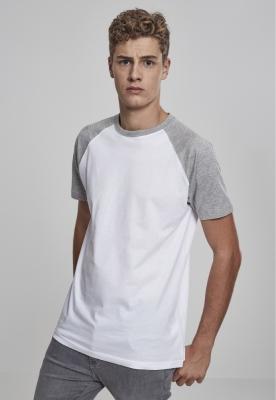 Tricouri casual in doua culori pentru barbati alb-gri Urban Classics