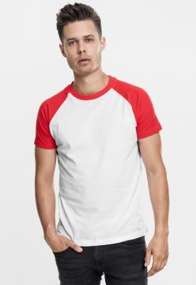 Tricouri casual in doua culori pentru barbati alb-rosu